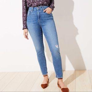 Loft Curvy High Waist Skinny Light Wash Jeans 4